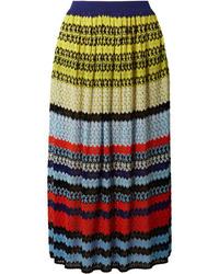 Missoni Striped Crochet Knit Midi Skirt
