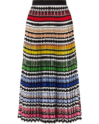 Mary Katrantzou Uni Pleated Striped Midi Skirt