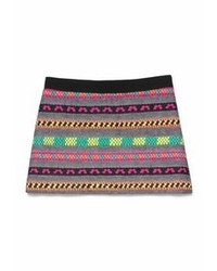 Multi colored Horizontal Striped Mini Skirt
