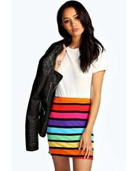 Boohoo Kim Block Stripe Bodycon Mini Skirt
