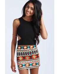 Boohoo Mercy Aztec Foil Mini Skirt