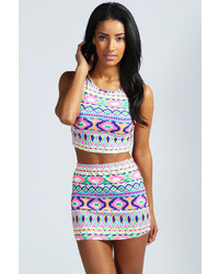 Boohoo Monica Neon Bright Aztec Print Mini Skirt