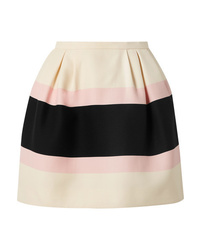 Valentino Striped Wool And Crepe Mini Skirt