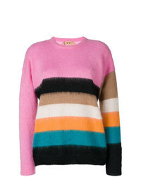 Multi colored Horizontal Striped Mohair Crew-neck Sweater