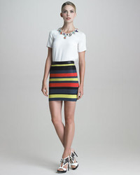 Jason Wu Crochet Striped Pencil Skirt