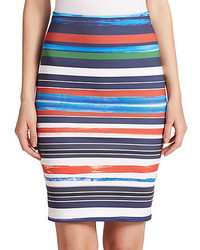 Striped neoprene pencil skirt medium 340315