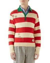 Gucci Interlocking G Embroidered Cotton Polo Sweater