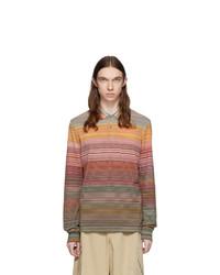 Missoni Orange And Multicolor Striped Long Sleeve Polo