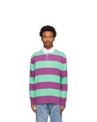 MSGM Purple And Green Striped Polo