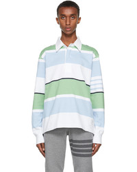 Thom Browne White Blue Engineered 4 Bar Rugby Long Sleeve Polo