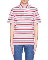 Isaia Stripe Cotton Polo Shirt