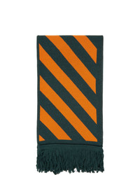 Off-White Green And Orange Knit Diag Scarf