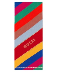 Gucci Stripe Studded Logo Wool Scarf