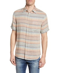 Multi colored Horizontal Striped Short Sleeve Shirt