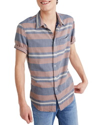 Madewell Ransell Stripe Double Weave Perfect Short Sleeve Shirt