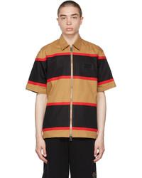 Burberry Tan Black Zippered Short Sleeve Shirt
