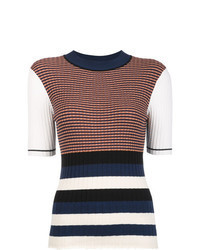 Multi colored Horizontal Striped Short Sleeve Sweater