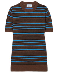 Prada Striped Metallic Wool Blend Sweater