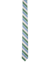 Thom Browne Off White Blue Bold Rep Stripe Classic Tie