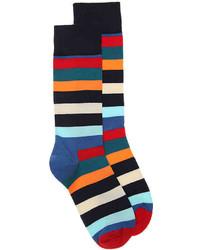 Happy Socks Colorful Stripe Dress Socks  Navymulticolor