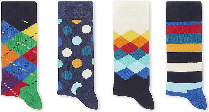 Happy Socks Cotton Blend Socks Set Of Four