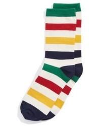 Hudsons Bay Company Yipes Stripes Socks White Multi Stripe