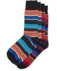 Jm Dickens Two Pair Multicolor Striped Socks