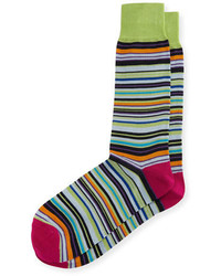 Neiman Marcus Mercerized Multi Stripe Socks
