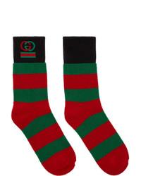 Gucci Red And Green Interlocking G Striped Socks