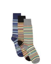Paul Smith Three Pack Multicolor Multi Stripe Socks