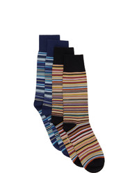 Paul Smith Two Pack Black And Blue Signature Stripe Socks