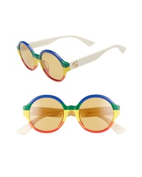 Gucci 51mm Stripe Round Sunglasses