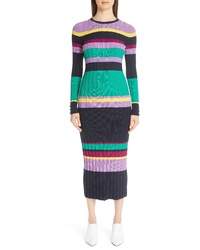 Lela Rose Ribbed Stripe Wool Blend Sweater Dress