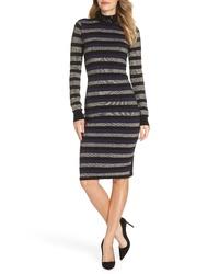 Eliza J Stripe Sequin Mock Neck Sweater Dress