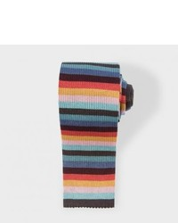 Multi coloured stripe silk knitted tie medium 417646