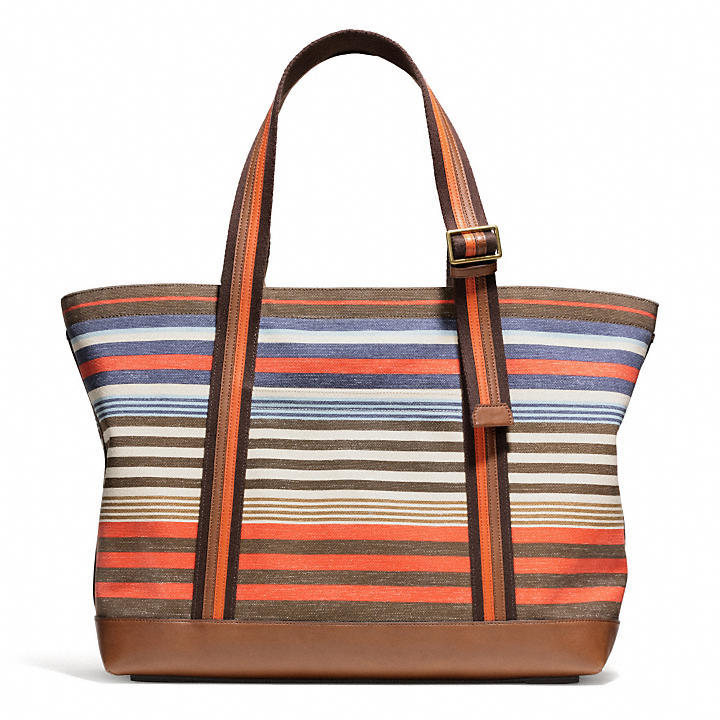 Coach Bleecker Beach Tote In Striped Canvas | Where to buy & how ...