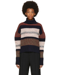 Multi colored Horizontal Striped Turtleneck