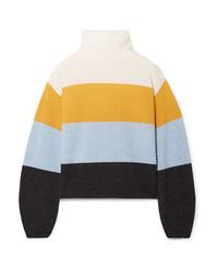 Veronica Beard Faber Oversized Striped Cashmere Turtleneck Sweater
