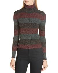 A.L.C. Mariel Metallic Stripe Turtleneck Sweater