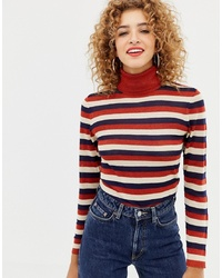 Only Sheer Glitter Stripe Roll Neck Jumper