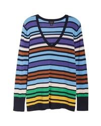 Halogen Cotton Blend V Neck Sweater