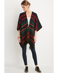 Striped open front poncho medium 345038
