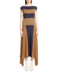 Loewe Stripe Asymmetrical Silk Dress