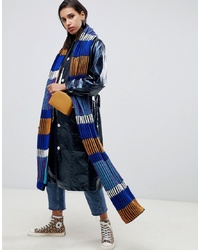 ASOS DESIGN Knitted Plated Block Stripe Long Scarf