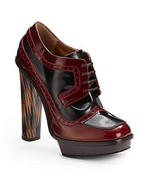 Fendi Jane Eyre Bicolor Patent Leather Lace Up Ankle Boots