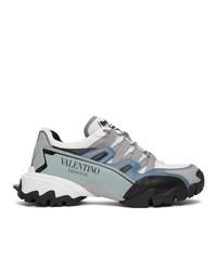 Valentino White And Blue Garavani Climbers Sneakers