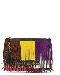Saint Laurent Monogramme Fringed Suede And Leather Clutch Pink