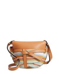 Loewe Small Gate Marine Genuine Snakeskin Calfskin Leather Crossbody Bag