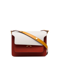 Marni White Yellow And Red Trunk Small Leather Shoulder Bag