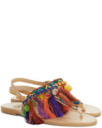 Elina Linardaki Multi Leather Dizzy Parrot Sandals